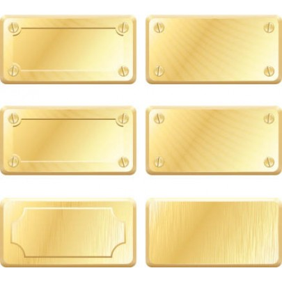 Rectangle Metallic Gold Labels